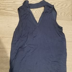 Blue Blouse With Built-In Choker Womens Size M